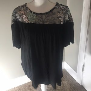 Lane Bryant Black Tee with Lace Detail 💕